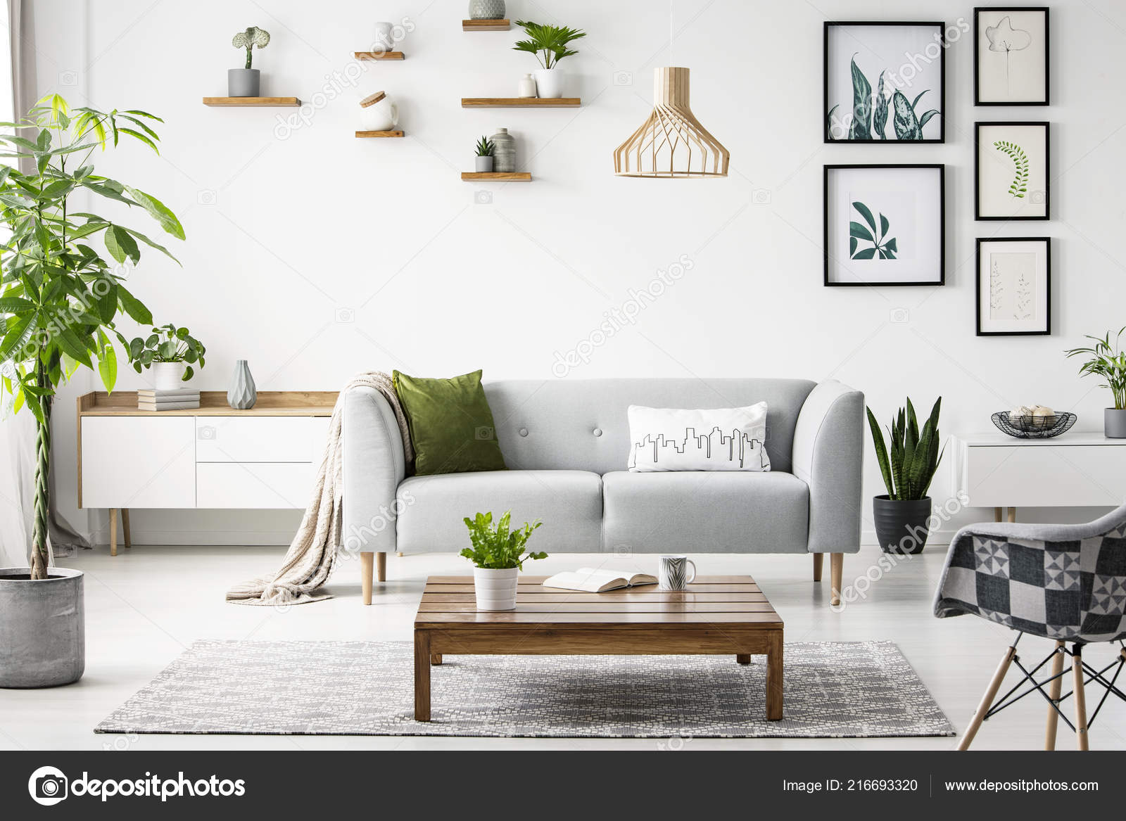 Flowers Wooden Table Front Grey Sofa Scandi Flat Interior Posters Stock Photo C Photographee Eu 216693320