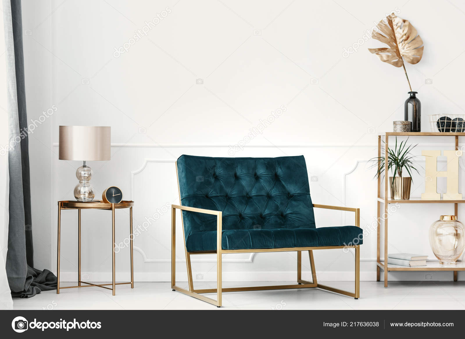 Dark Green Sofa Golden Frame White Wall Molding Elegant Living ...