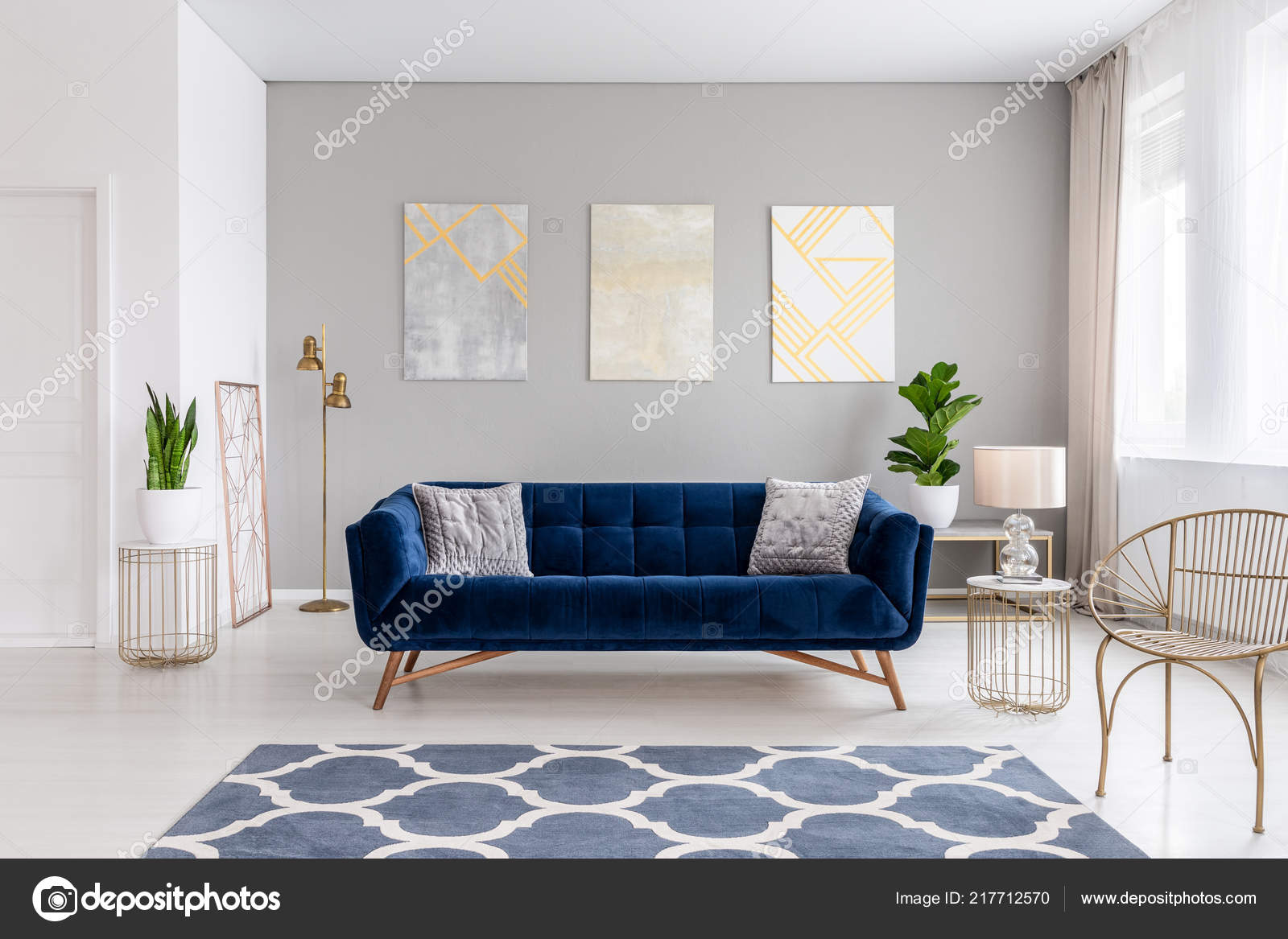 Enjoyable Elegant Navy Blue Sofa Middle Bright Living Room Interior Ncnpc Chair Design For Home Ncnpcorg