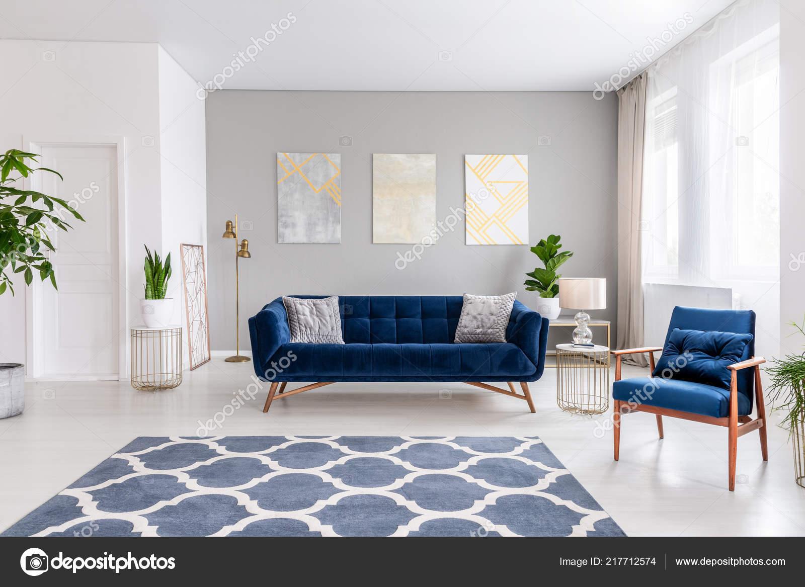 Espace Ouvert Salon Interieur Avec Canape Bleu Marine
