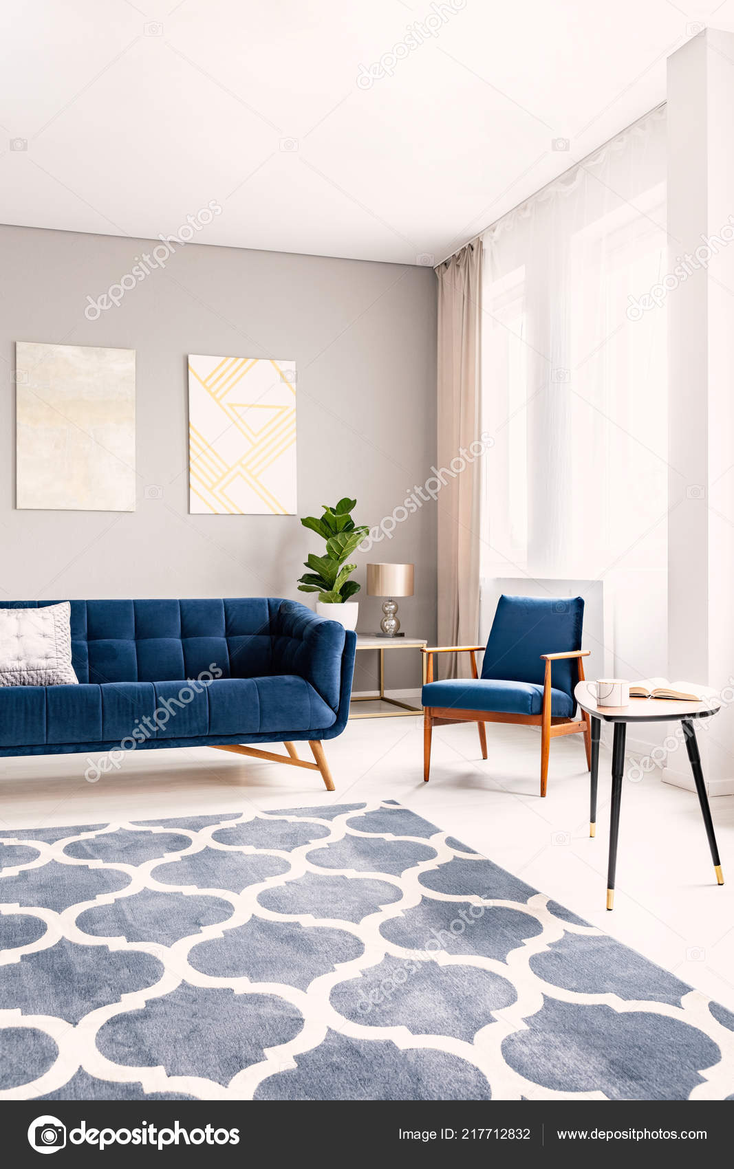 Elegant Living Room Interior Dark Blue Couch Matching Armchair Large Stock Photo Image By Photographee Eu 217712832