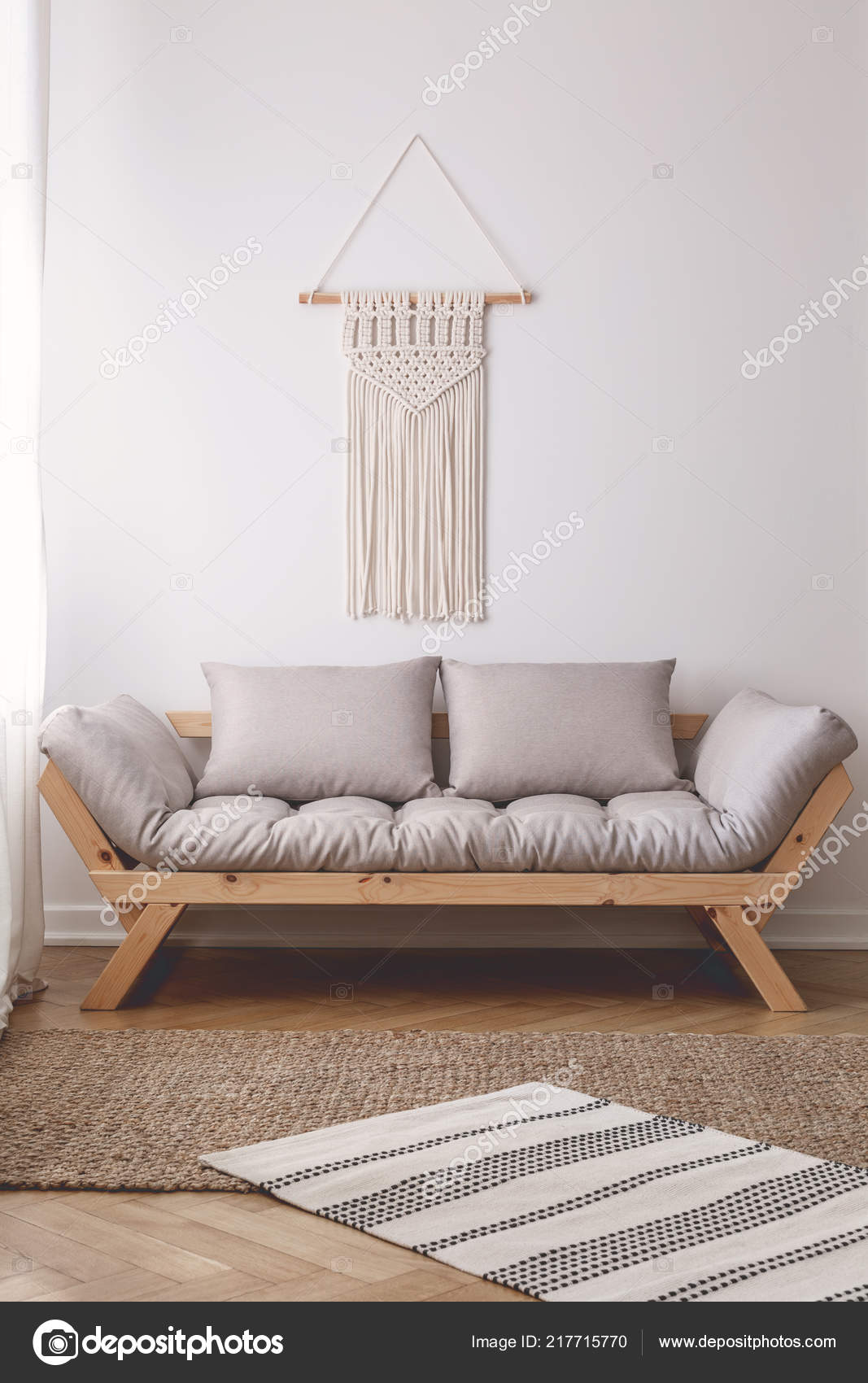 Beige Wooden Couch Pillows Simple White Living Room Interior Rug Stock Photo C Photographee Eu 217715770