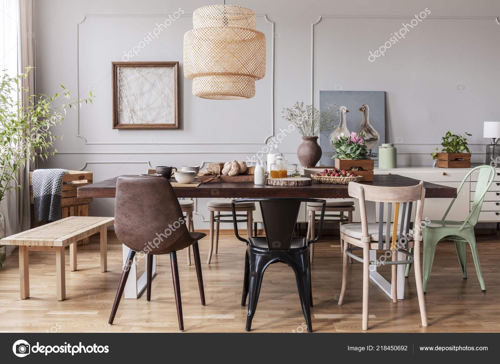 Chaises Table Manger Bois Sous Lampe Interieur Salle Manger Avec