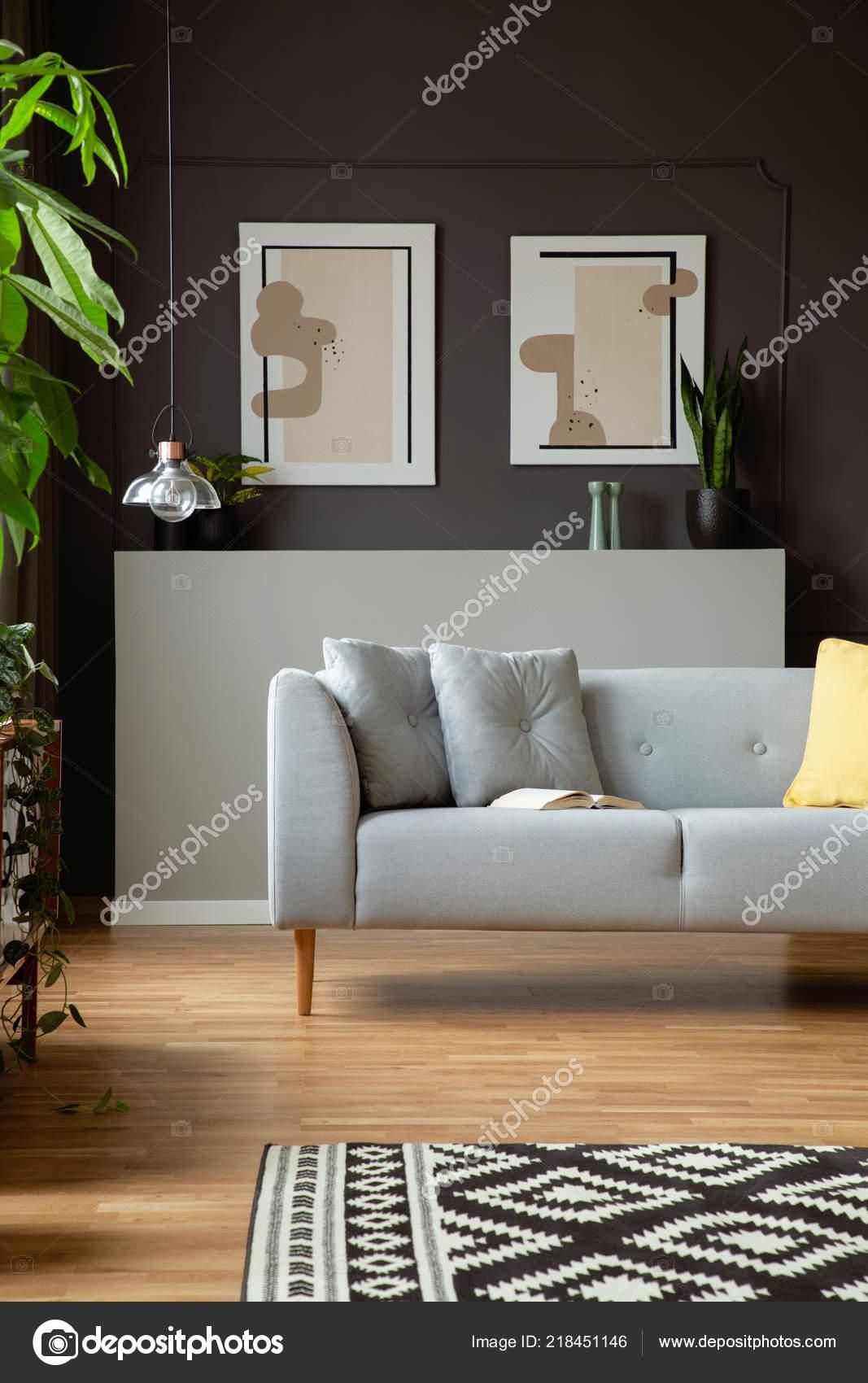 Modern Sofa Pillows Two Paintings Grey Wall Living Room ...