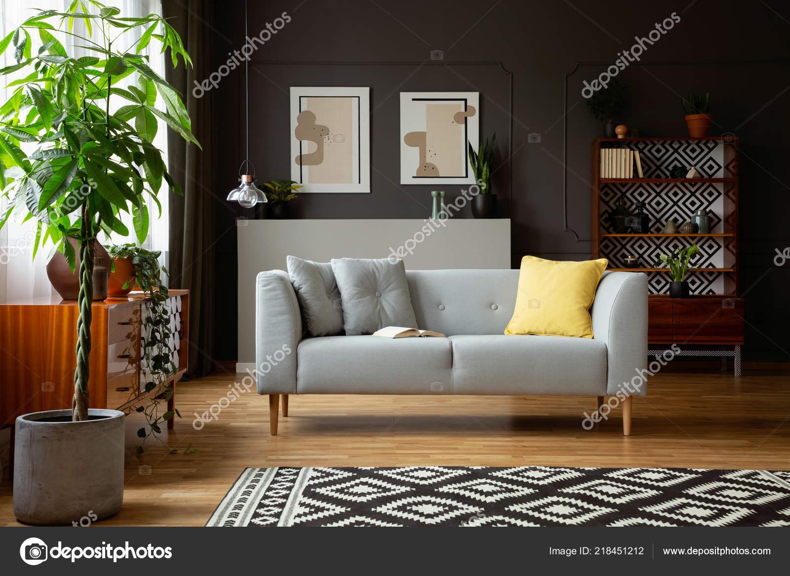 Echtes Foto Von Einem Wohnzimmer Interieur Mit Einem Sofa Baum ...