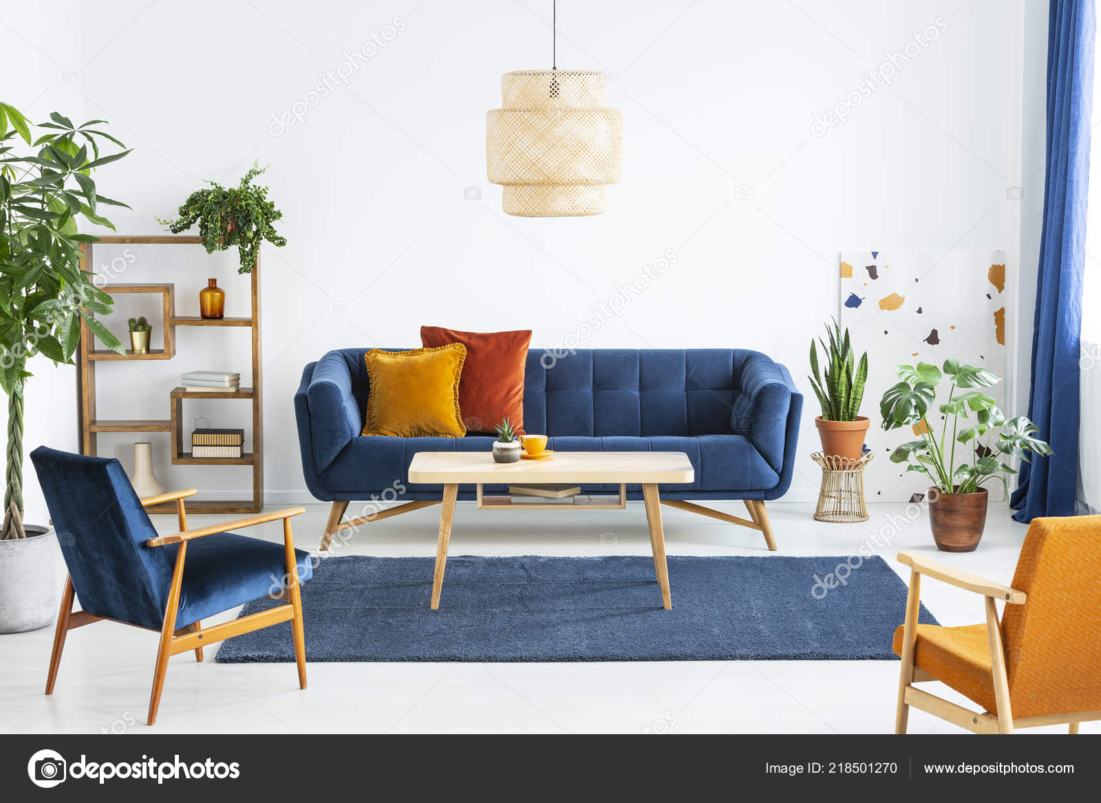 Remarkable Retro Armchairs Wooden Frame Colorful Pillows Navy Blue Sofa Theyellowbook Wood Chair Design Ideas Theyellowbookinfo