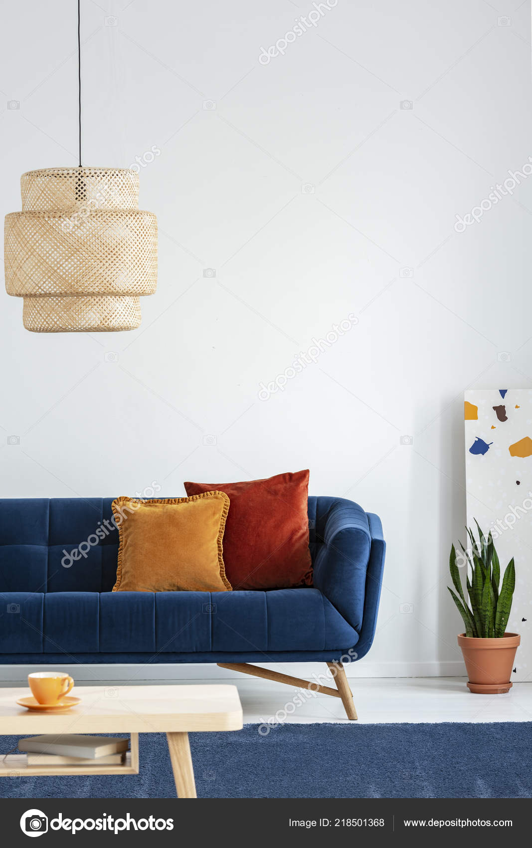 Retro Lampshade Simple Wooden Coffee Table Navy Blue Rug