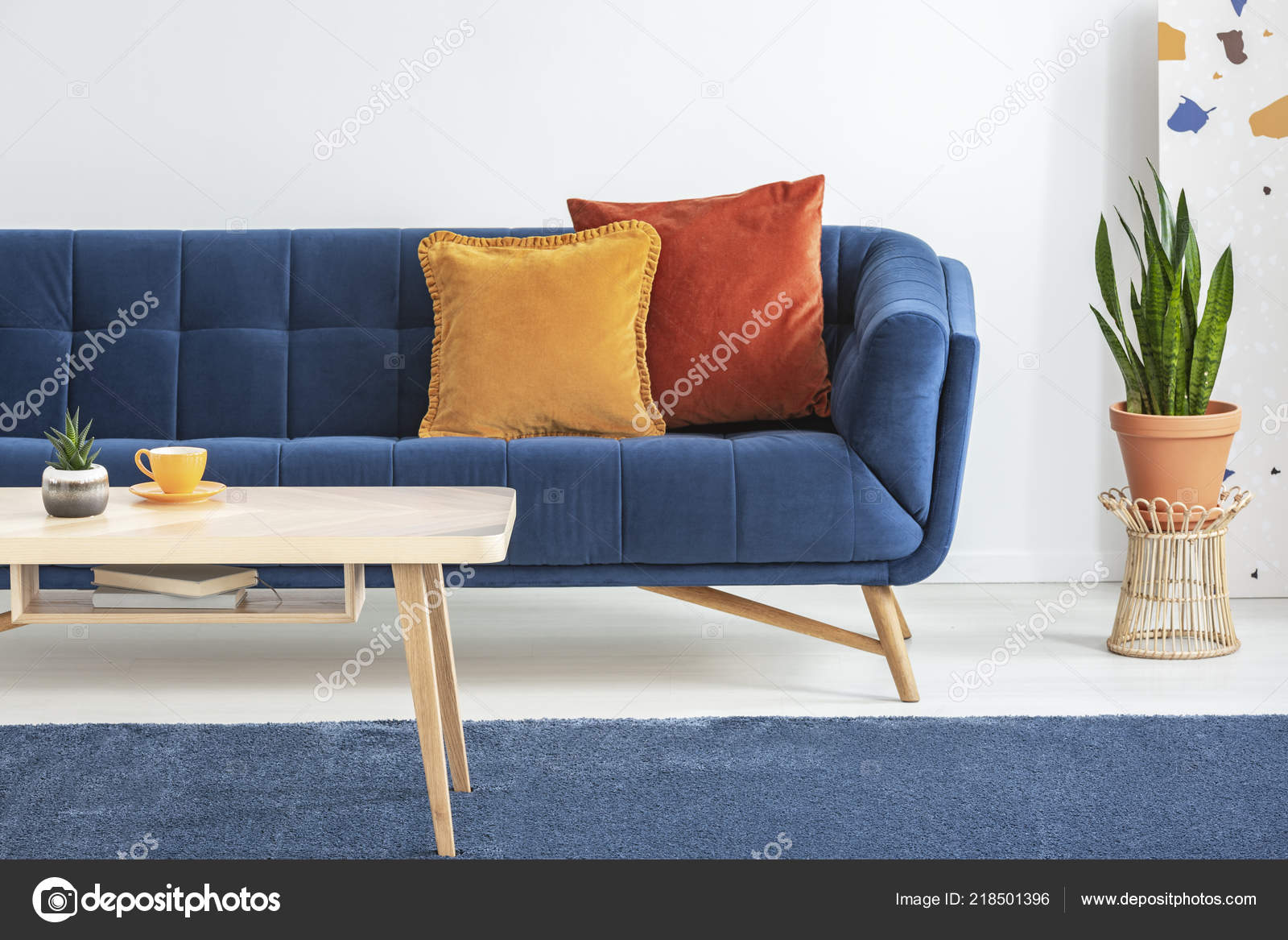 Prime Orange Red Cushions Fancy Navy Blue Sofa Basic Wooden Coffee Interior Design Ideas Oxytryabchikinfo