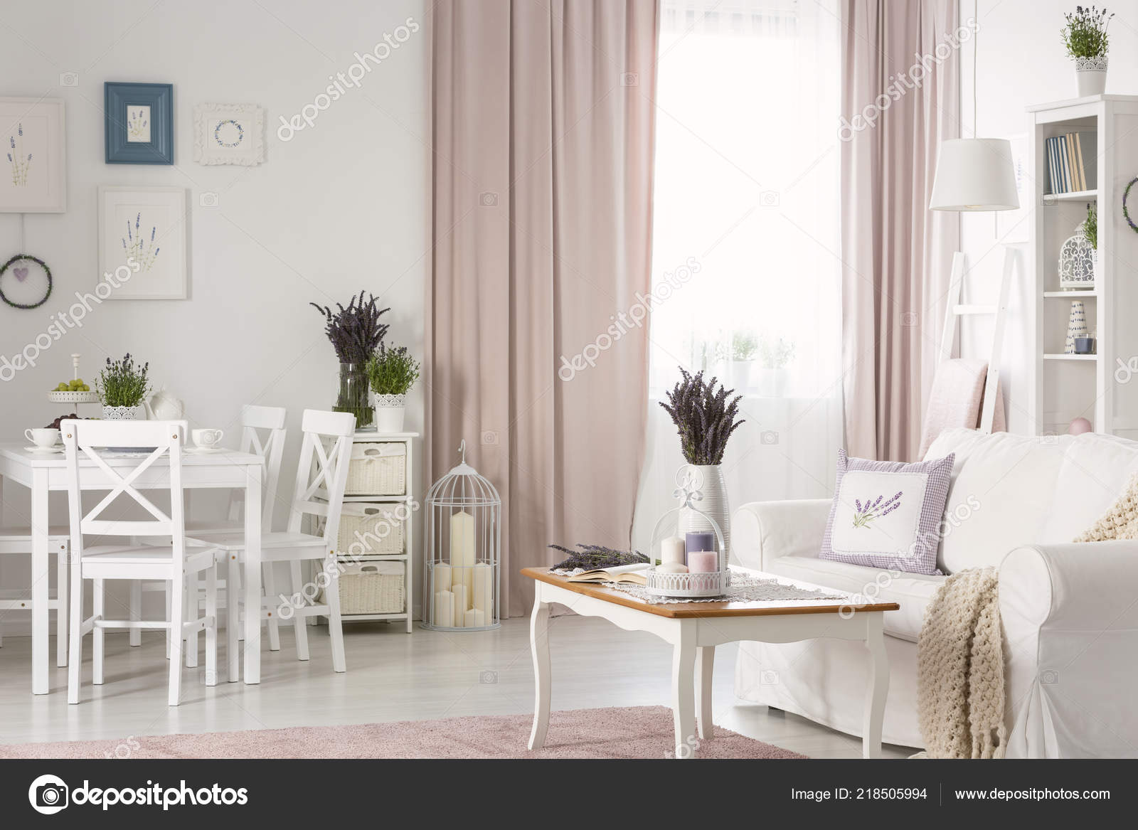 White Chairs Dining Table Posters Flat Interior Pink Drapes Settee Stock Photo C Photographee Eu 218505994