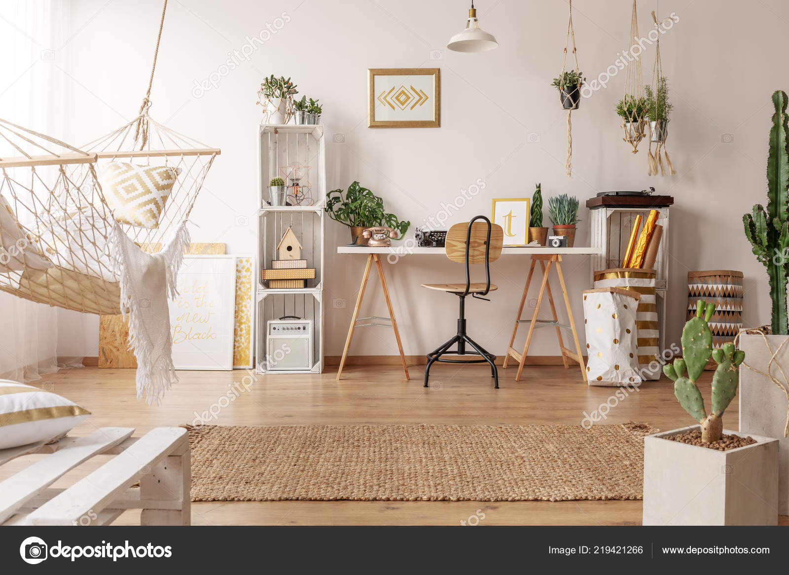 Real Photo Of Bright Room Interior With Hammock, Fresh Plants And Home  Office Corner With Wooden Desk, Chair And Decor U2014 Photo By Photographee.eu