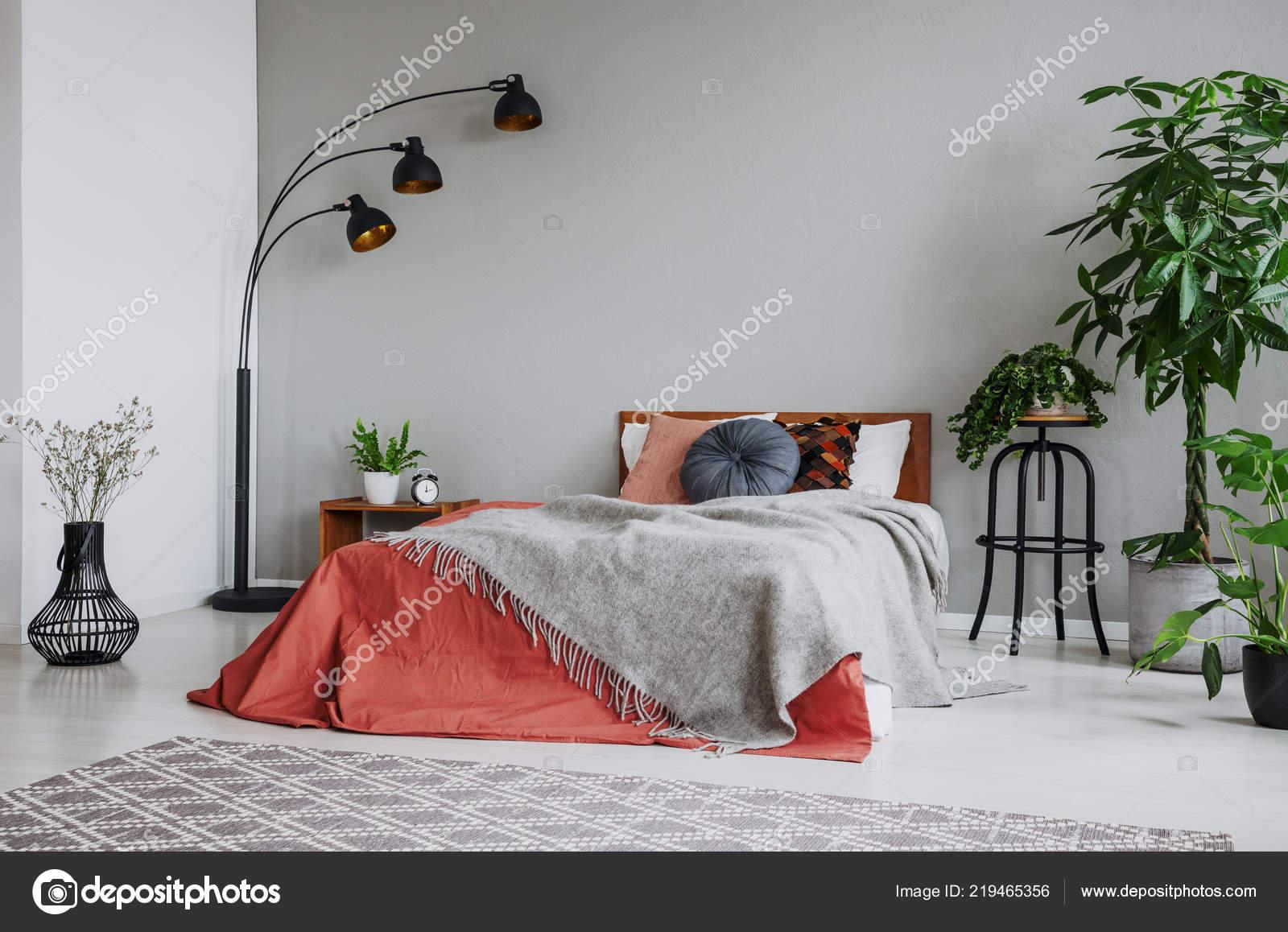 Graue Decke Auf Roten Bett Zwischen Pflanzen Und Lampe ...