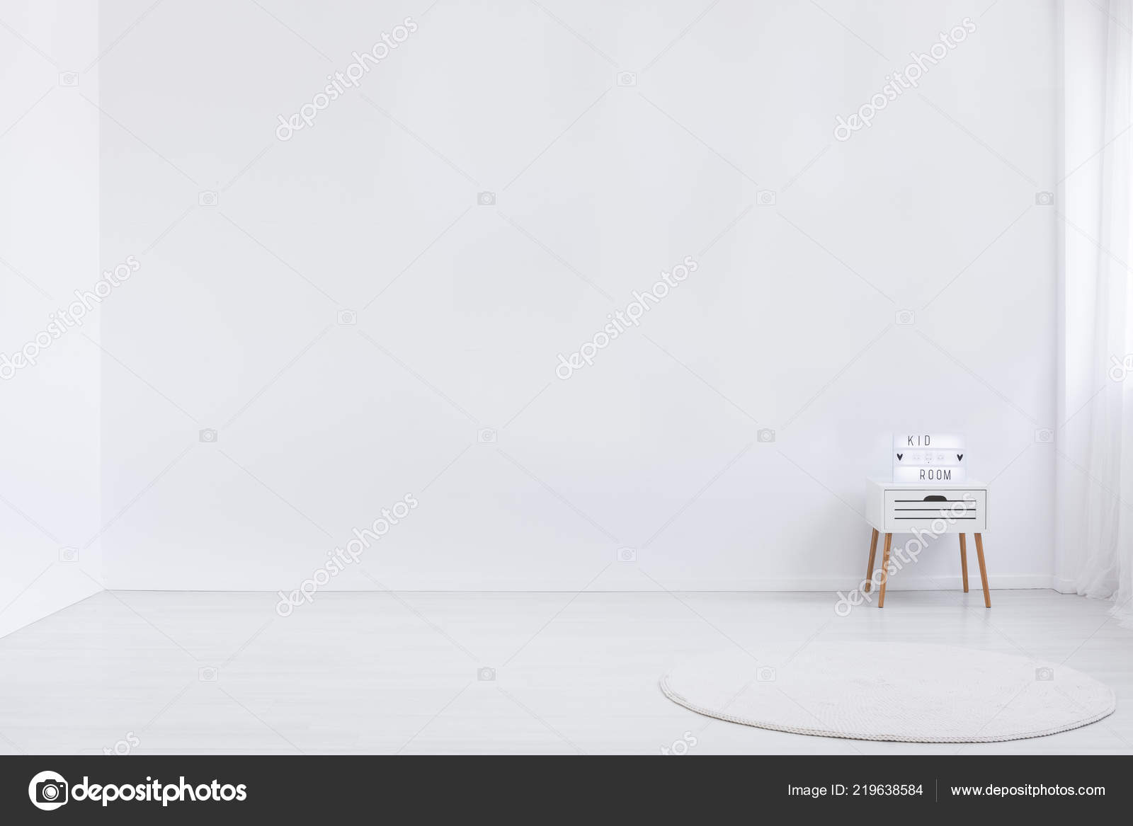 Copy Space White Empty Wall Minimal Kid Room Interior Rug Stock Photo Image By C Photographee Eu 219638584