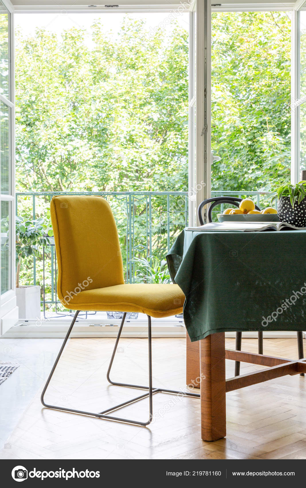 Yellow Chair Next Table Dining Room Interior Terrace Background Stock Photo