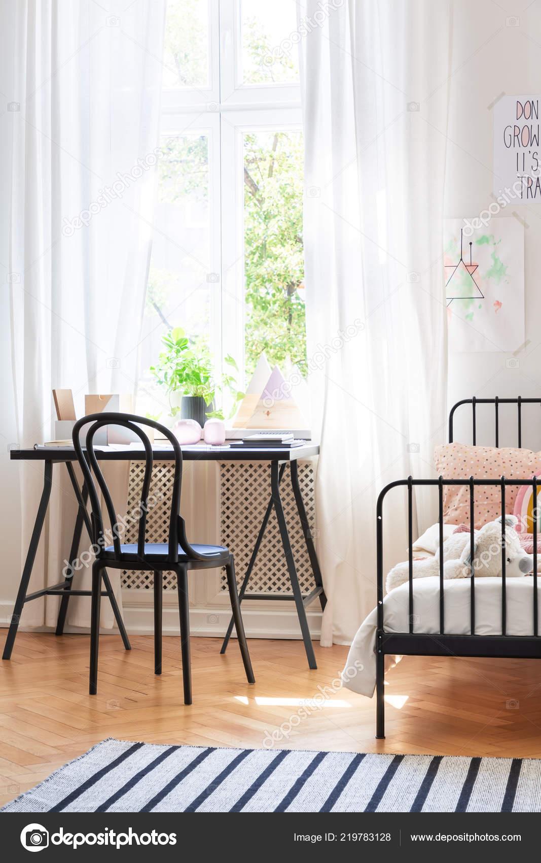 Cool Black Chair Desk Next Bed Teenager Room Interior Window Spiritservingveterans Wood Chair Design Ideas Spiritservingveteransorg