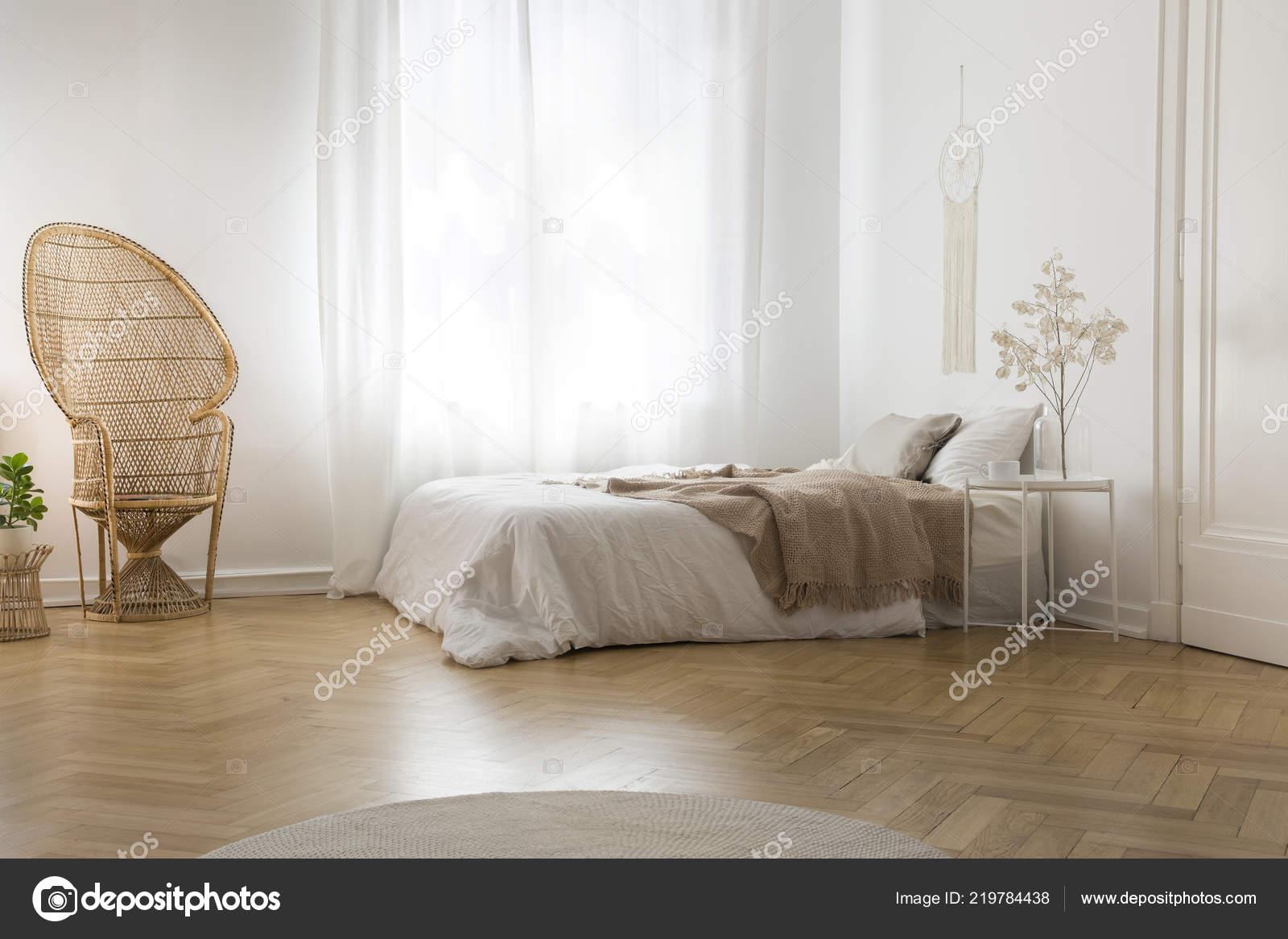 Rattan Peacock Chair Next Window White Bedroom Interior Blanket Bed