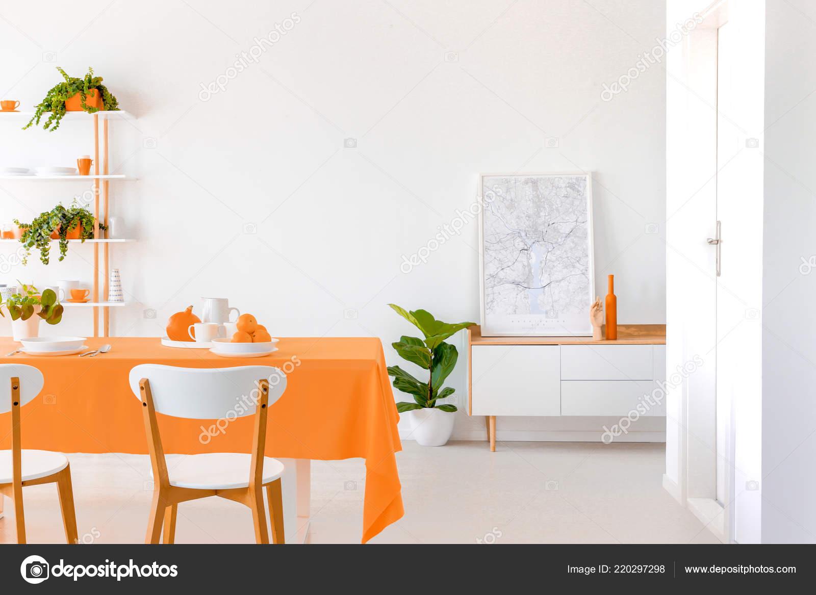 Witte Eetkamer Stoel : Planten naast kabinet met poster witte eetkamer interieur met