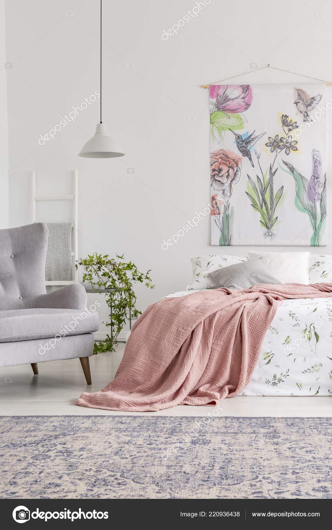 Peach grey and white bedroom   Cozy Bedroom Interior Bed ...