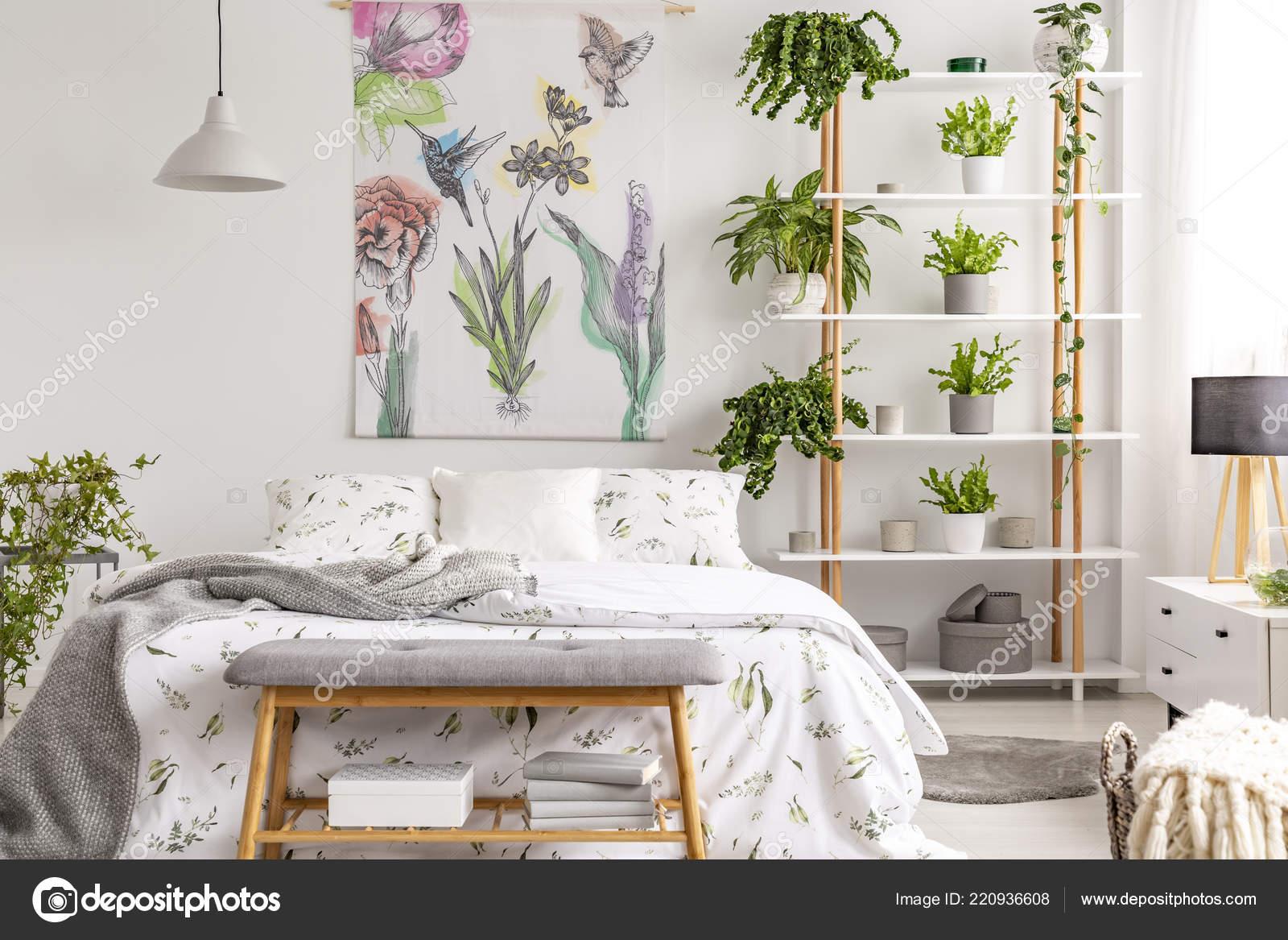 Real Photo White Bedroom Interior Many Fresh Plants King Size