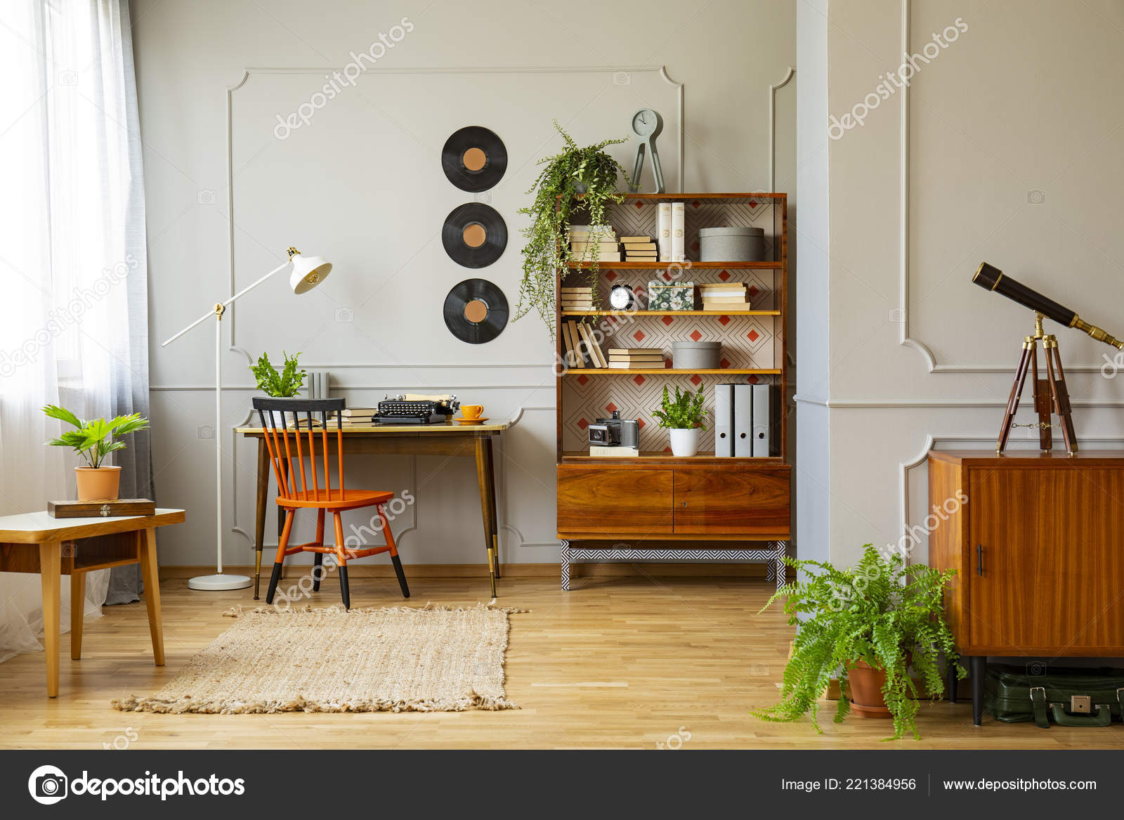 Retro home office Black Vinyl Records Decorations On Gray Wall With Molding And Wooden Furniture In Retro Home Office Interior For Writer Real Photo Depositphotos Vinyl Records Decorations Gray Wall Molding Wooden Furniture Retro
