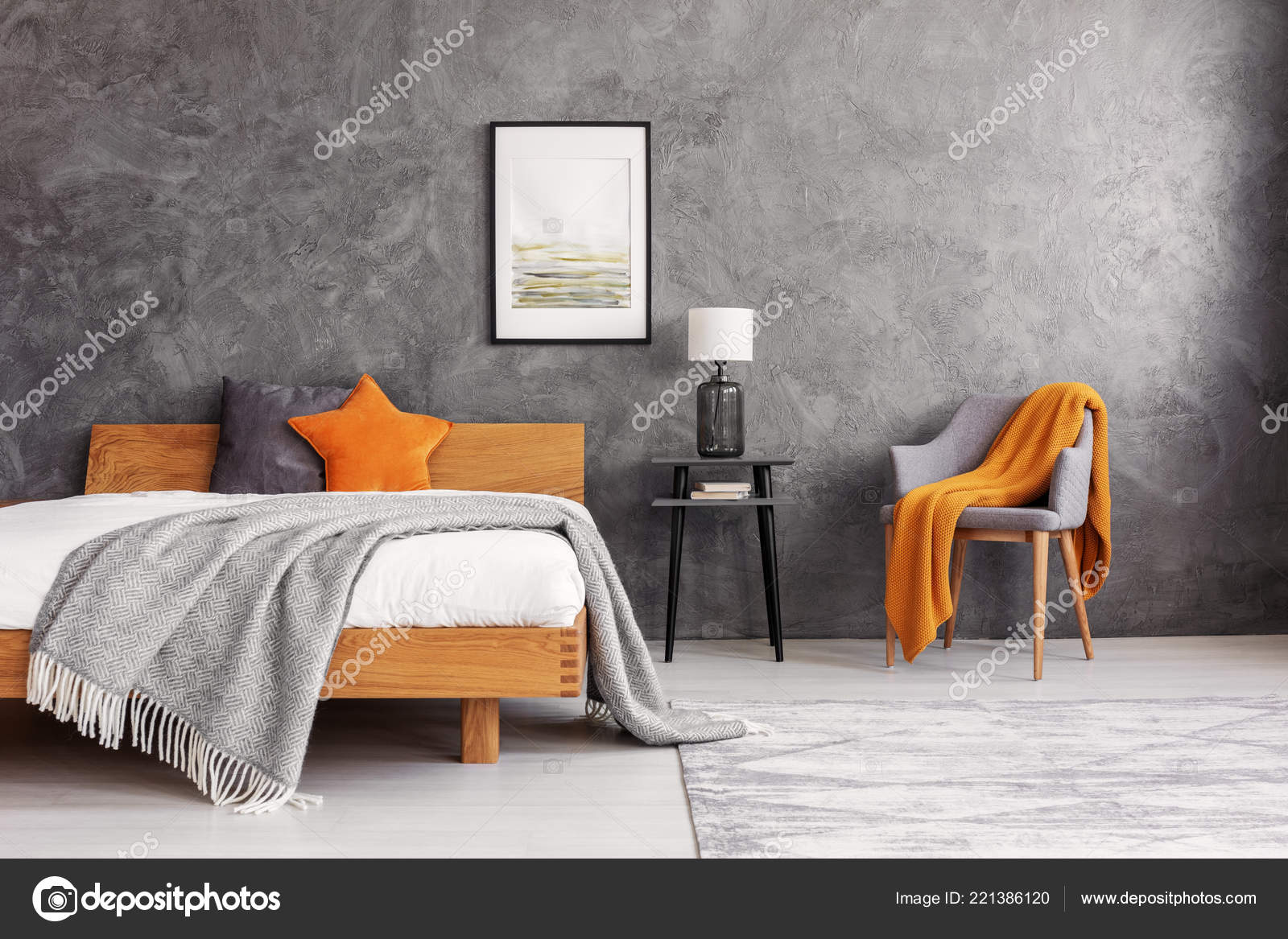 Grey Orange Accents Simple Elegant Bedroom King Size Bed Painting ...