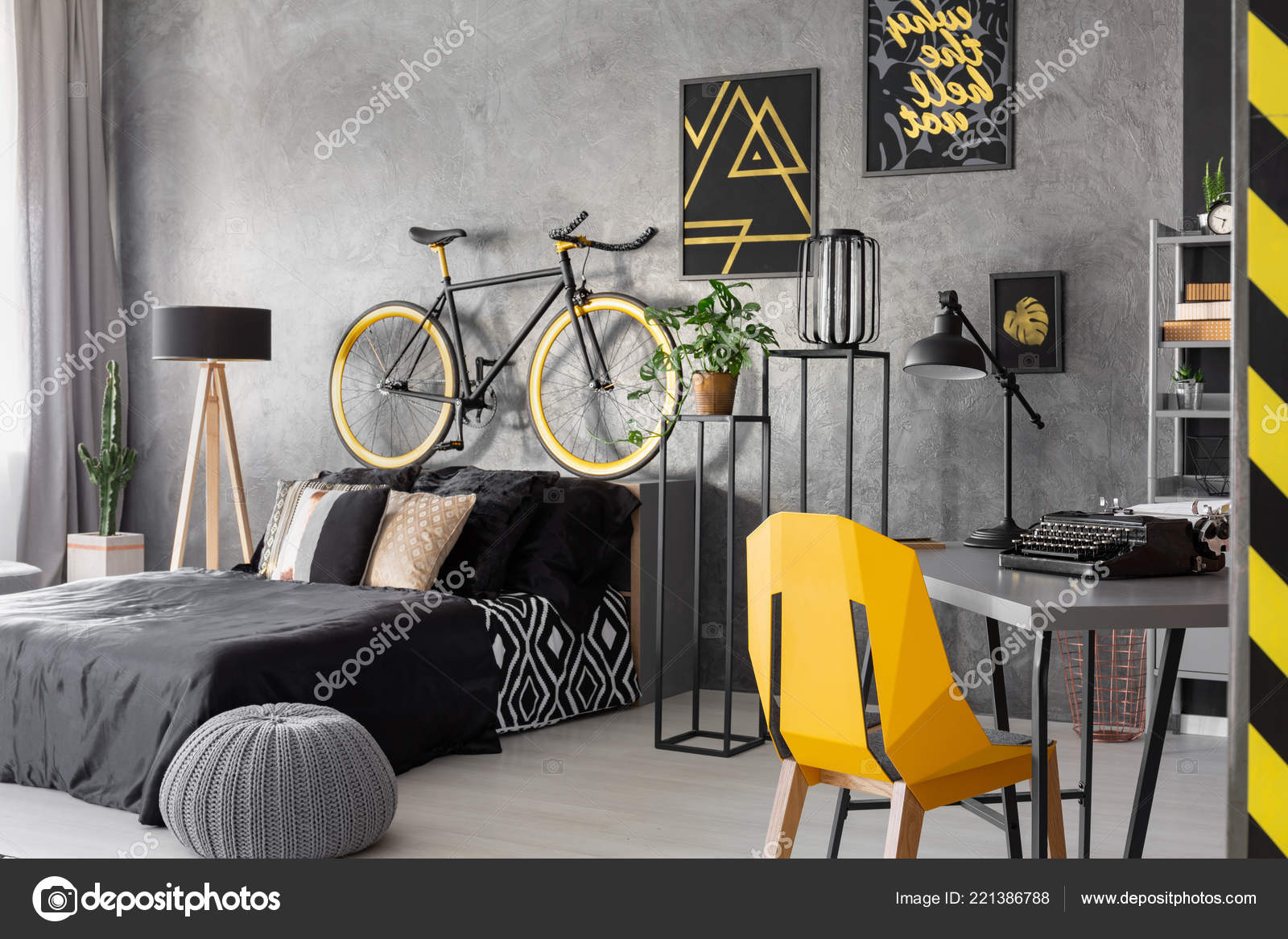 Posters Bike Black Bed Grey Teenager Room Interior Pouf Yellow