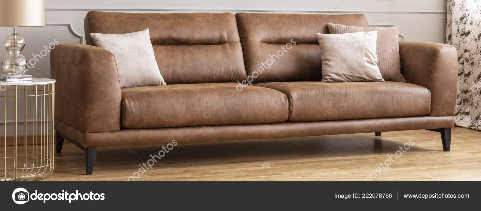 Picture of: Big Comfy Leather Armchair Panoramic View Big Comfortable Leather Sofa Pillows Real Photo Stock Photo C Photographee Eu 222078766