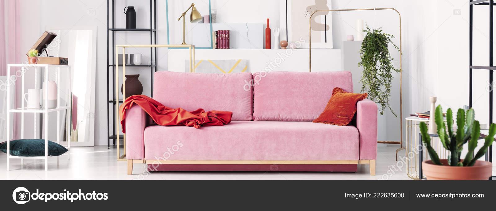 Panoramic View Powder Pink Sofa White Black Metal Shelves Paintings