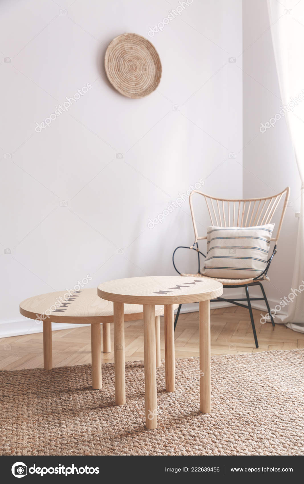 Two Small Coffee Tables Wicker Chair Pillow Natural Beige Living U2014 Stock  Photo