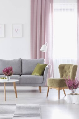 Vertical view of elegant living room with grey comfortable couch olive green armchair and heather in metal pots, real photo