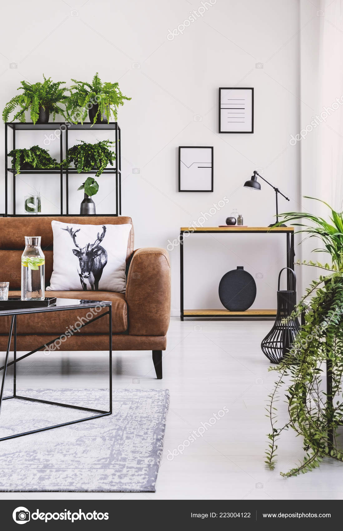Picture of: Vertical View Elegant Living Room Brown Leather Sofa Pillow Table Stock Photo C Photographee Eu 223004122