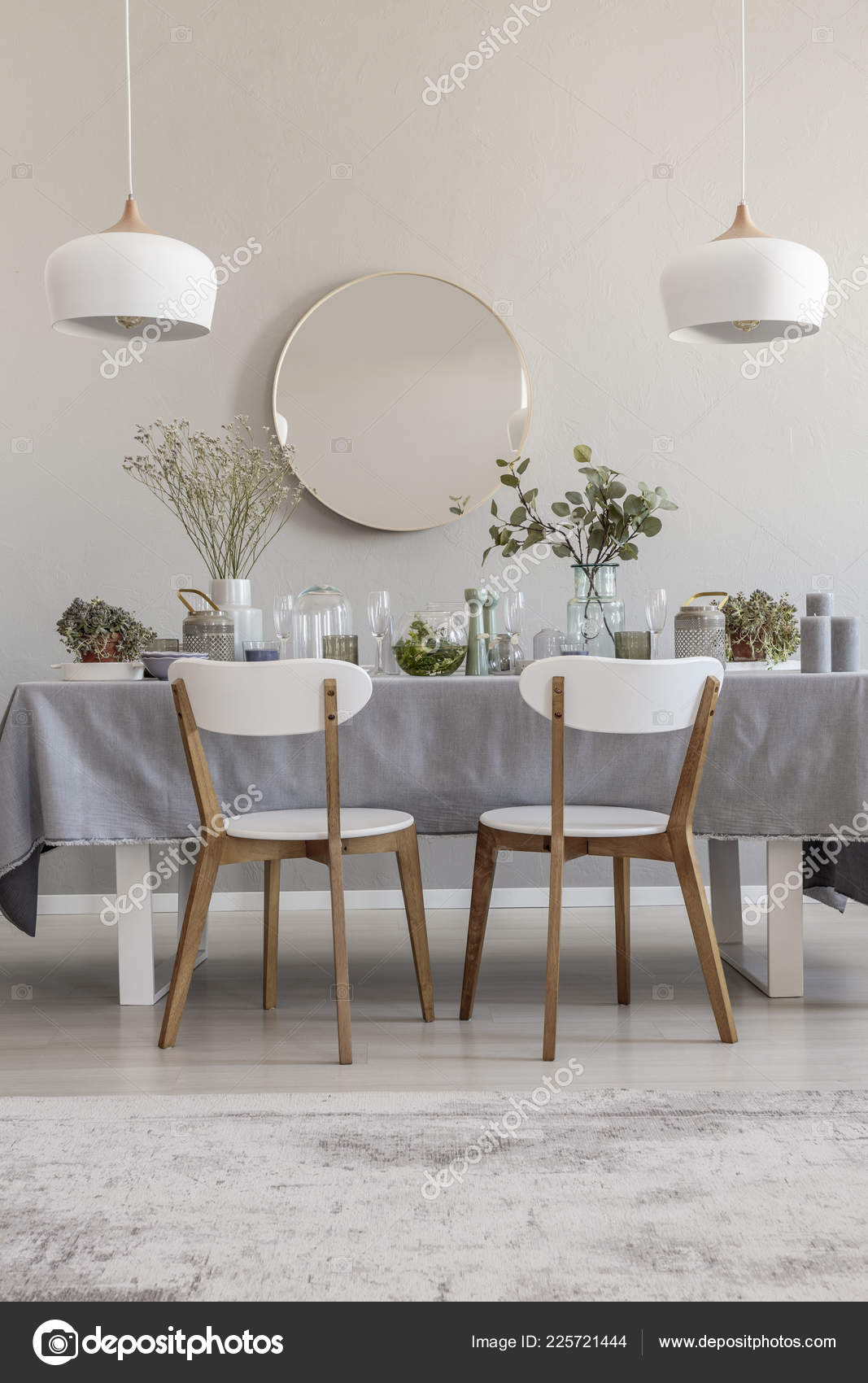 White Chairs Table Elegant Dining Room Interior Mirror Lamps Real Stock Photo Image By Photographee Eu 225721444