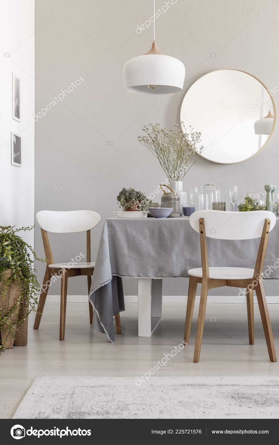 Lamp White Chairs Table Grey Dining Room Interior Plants Mirror Stock Photo Image By Photographee Eu 225721576