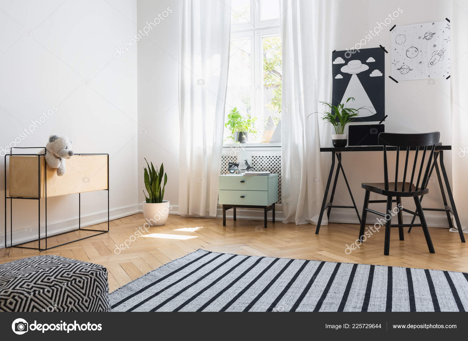 Black And White Teenage Girl Room Ideas Black Chair Desk White Teenager Room Interior Posters Striped Carpet Stock Photo C Photographee Eu 225729644