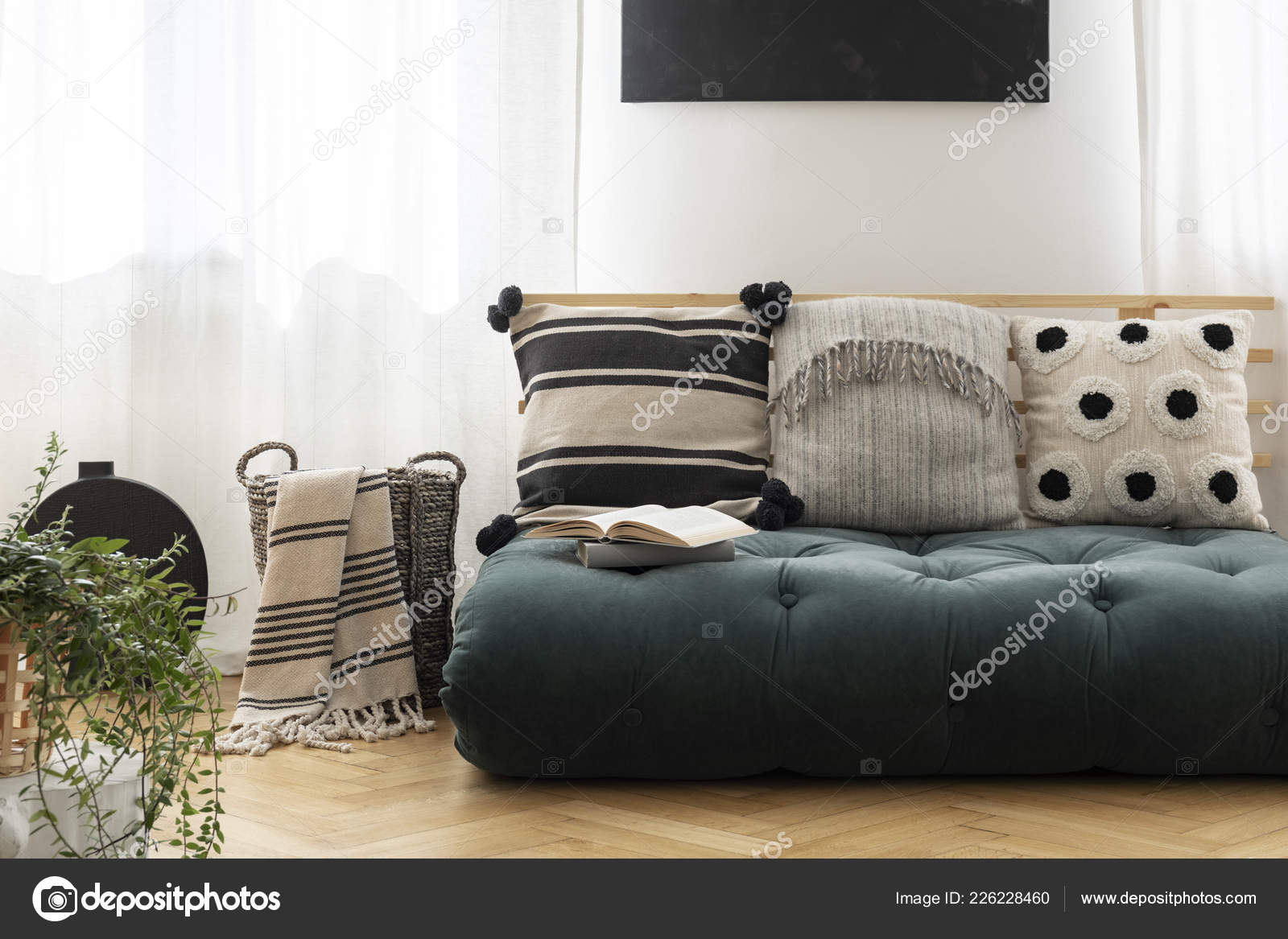 Patterned Cushions Green Futon Bright Living Room Interior Blanket Basket Stock Photo Image By C Photographee Eu 226228460