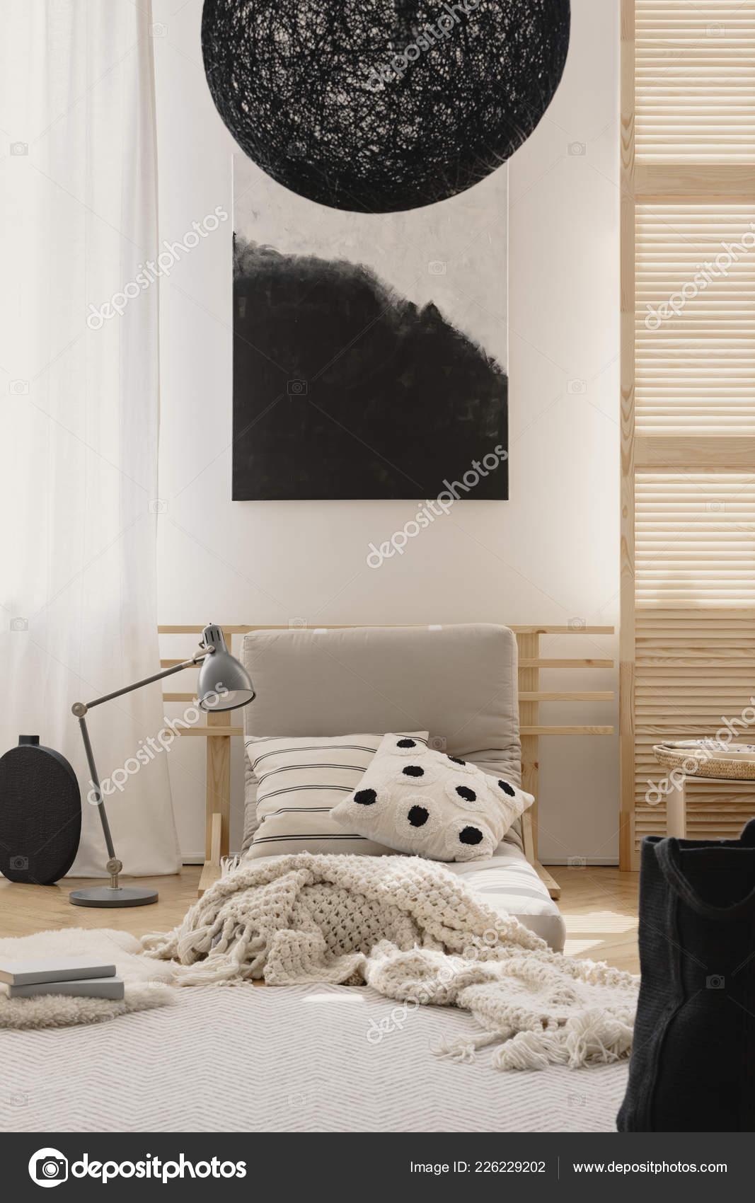 Lustre Noir Élégant Noir Blanche Peinture Abstraite Japonais ...