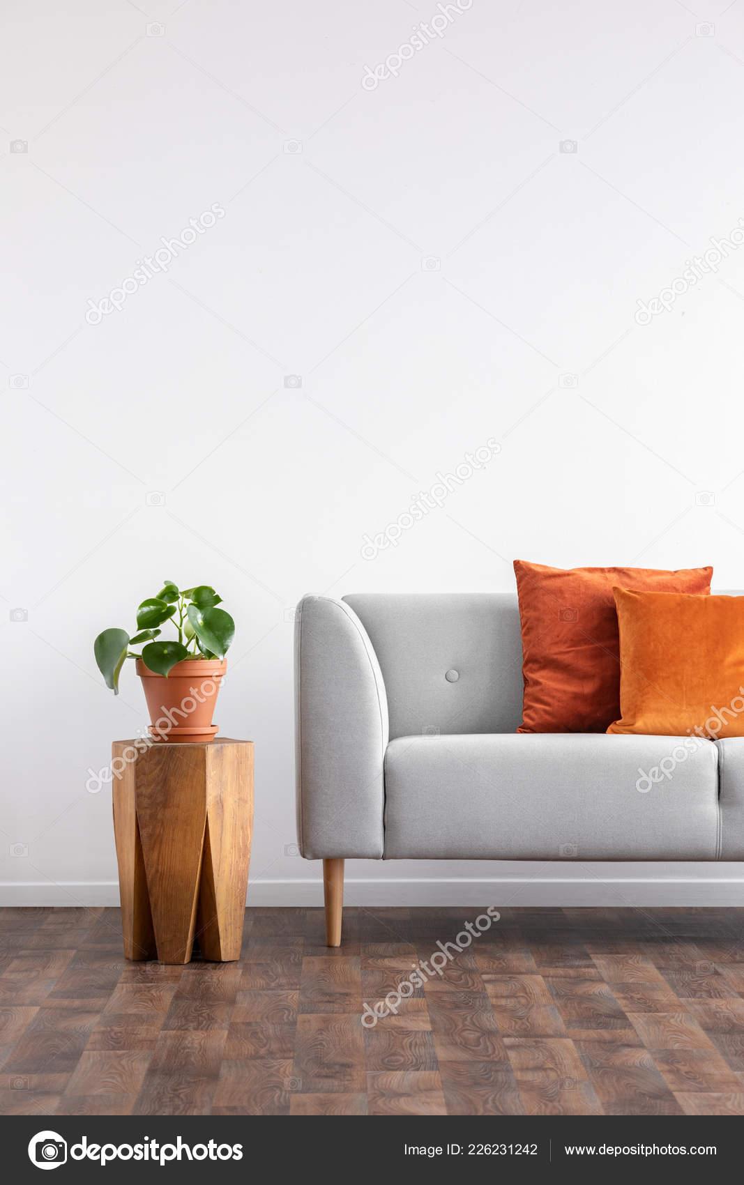 Orange Pillows Grey Sofa Next Plant Wooden Table Grey Living ...