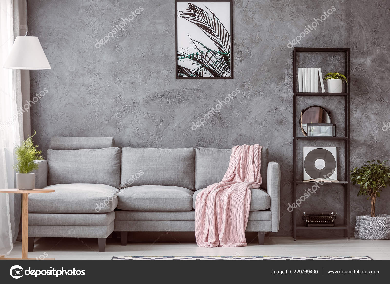 Pastel Pink Blanket Grey Comfortable Couch Contemporary
