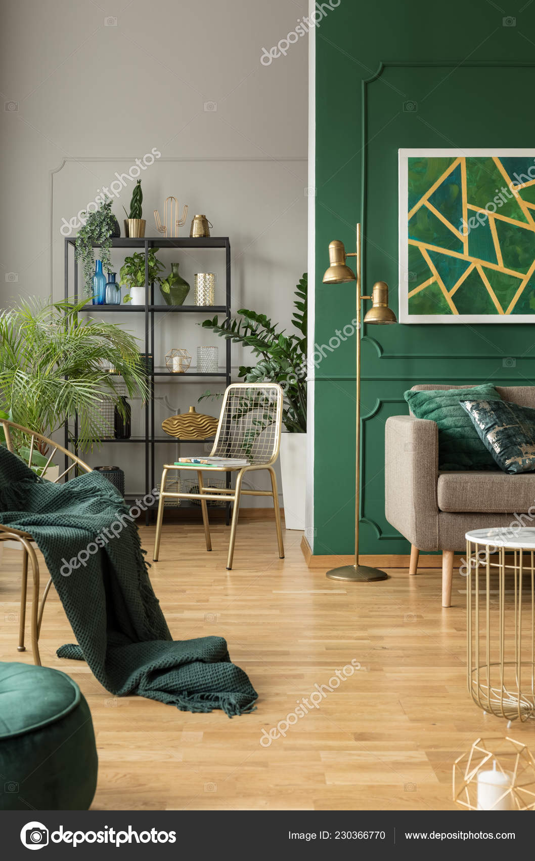 Emerald Green And Blue Living Room Emerald Green Interior Grey Accents Urban Jungle Fancy Furniture Stock Photo C Photographee Eu 230366770