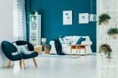 Stylový smaragdově zelené křeslo s květinovými polštáři v elegantním obývacím pokoji s bílou pohovku, dřevěný stolek a bílý regál