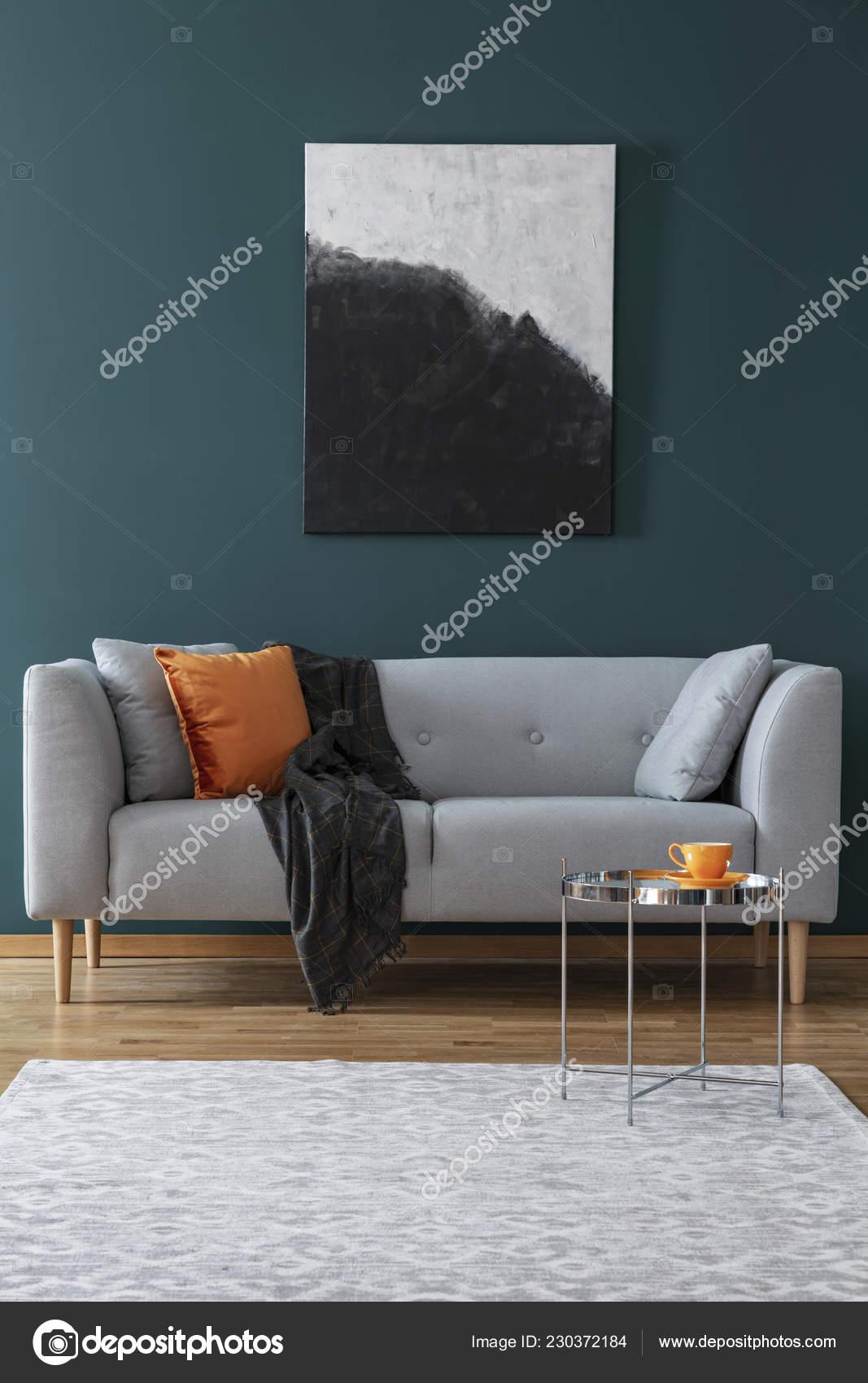 Painting Grey Sofa Blanket Cushion Living Room Interior