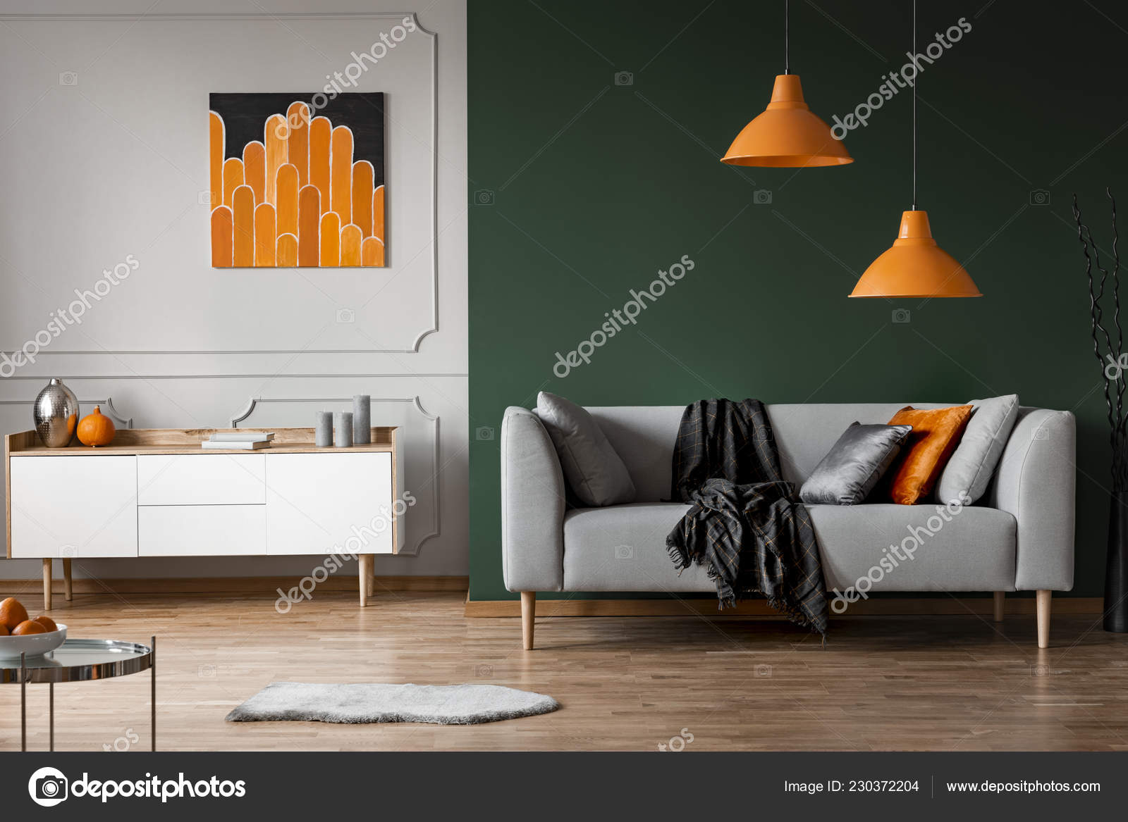 Orange Lamps Grey Couch Black Living Room Interior Poster ...