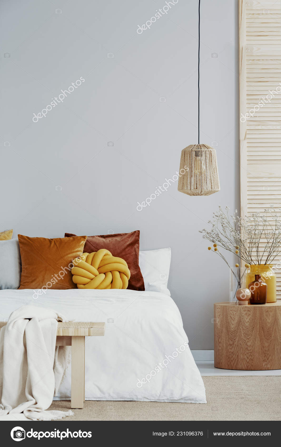 Yellow Knot Pillow White Bed Bright Bedroom Copy Space Empty Stock Photo C Photographee Eu 231096376