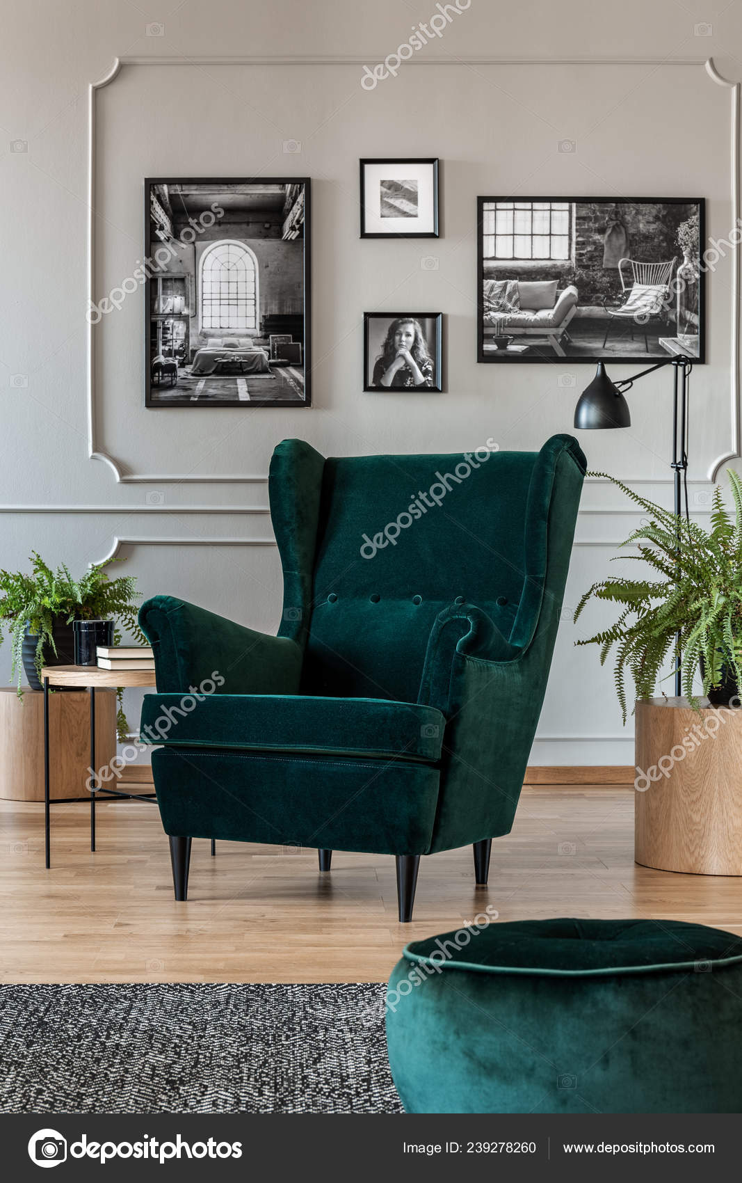 Grey and emerald green living room | Emerald Green Armchair ...