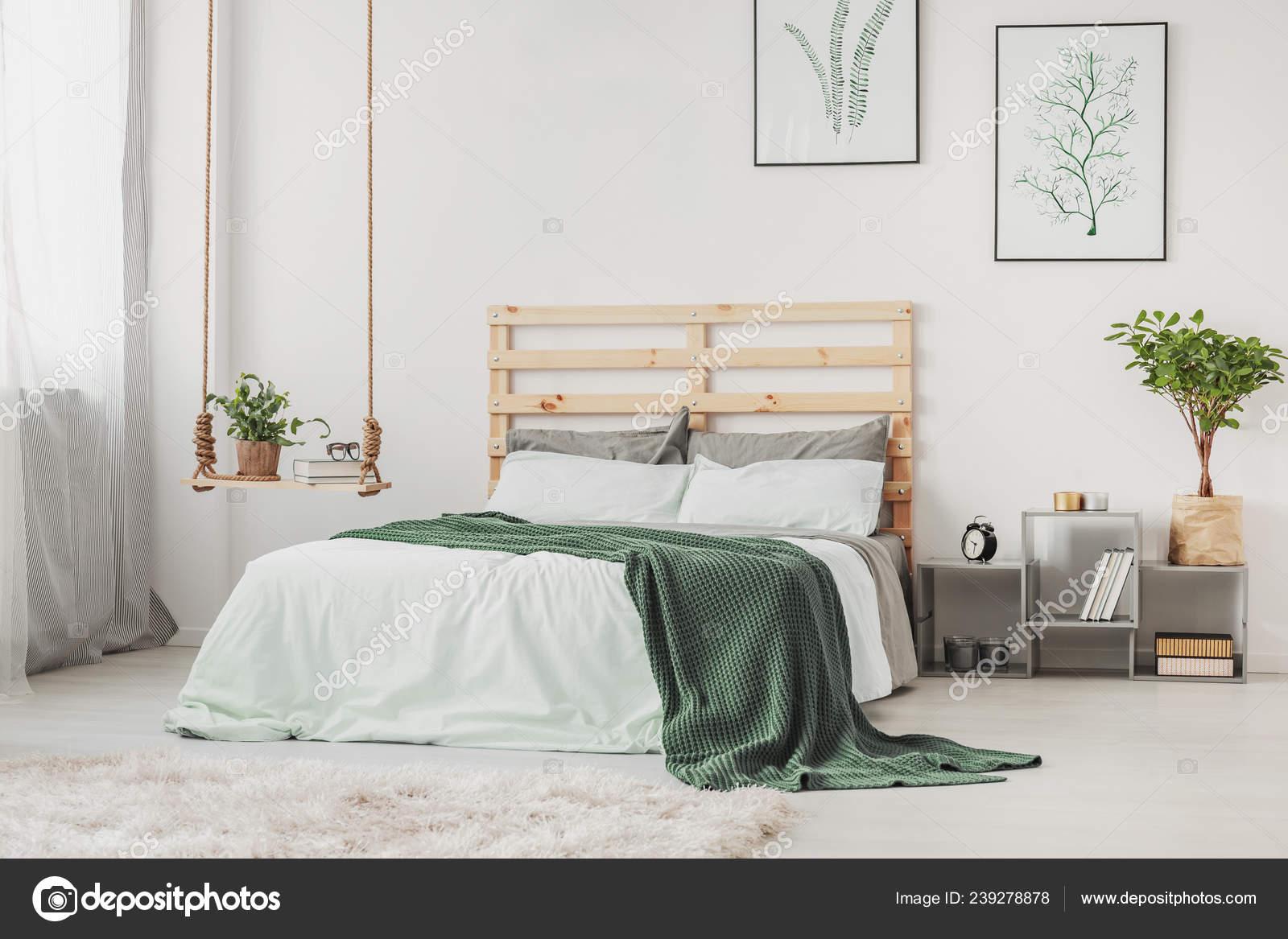 Scandinavian Bedroom Interior Comfortable Bed Grey White Bedding Minimal Posters Stock Photo Image By C Photographee Eu 239278878
