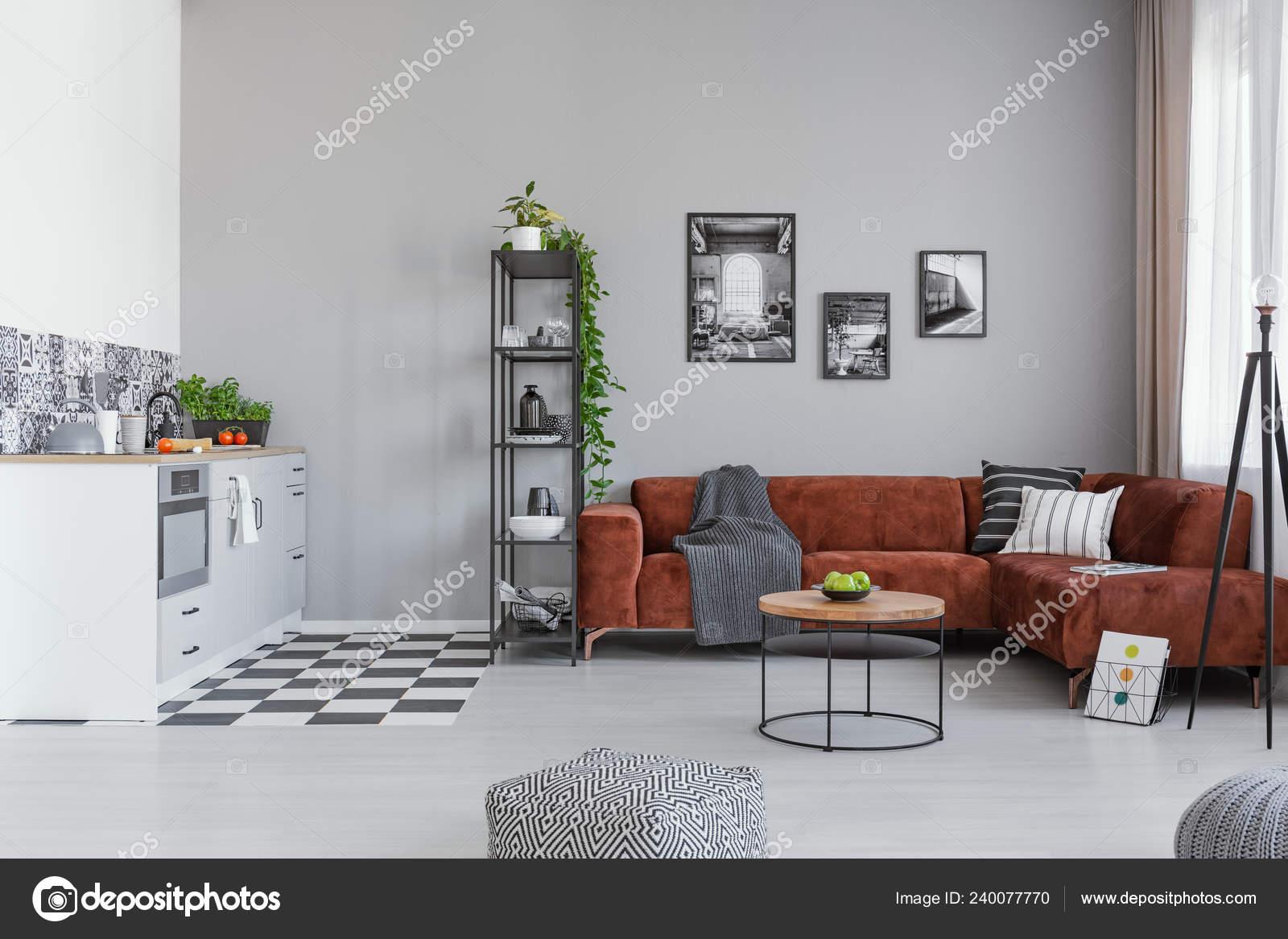 Fashionable Open Plan Living Room Kitchen Interior Brown ...