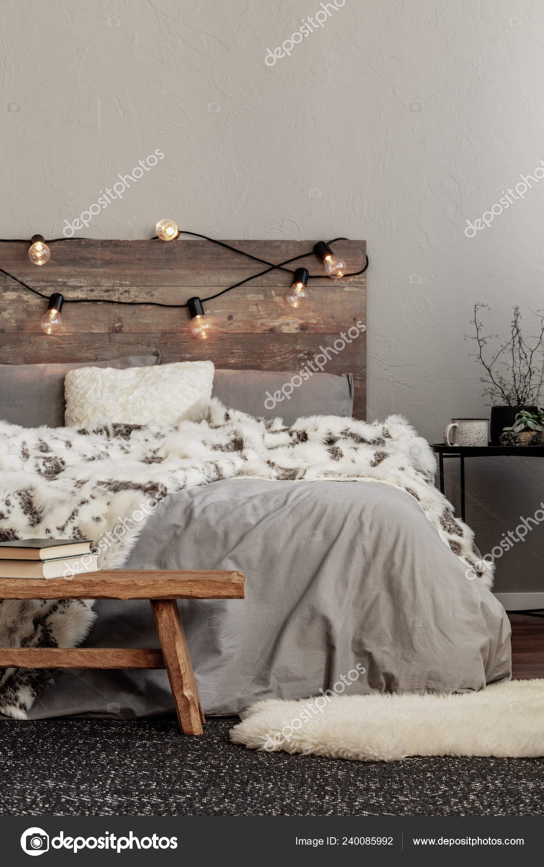 White Fury Blanket Grey Bedding King Size Bed Wooden Headboard Stock Photo Image By C Photographee Eu 240085992