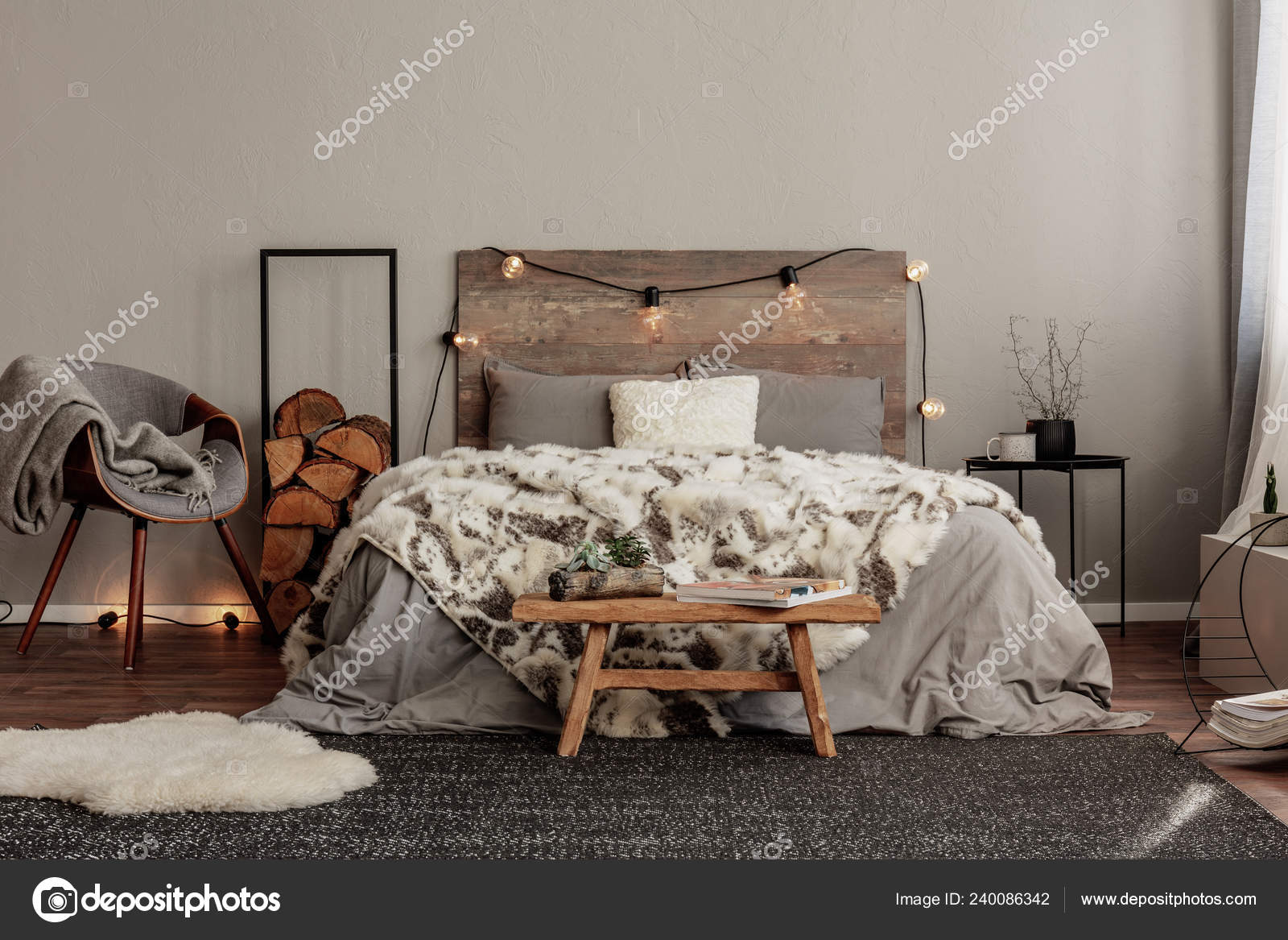 best sneakers 79672 7a939 Trendy Grey Chair Blanket Log Wood Next Cozy Double Bed ...