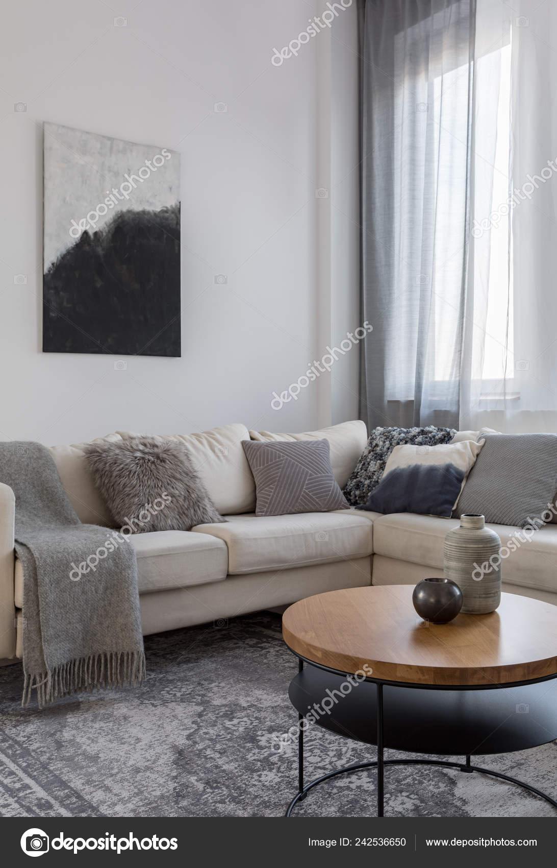 Abstraktes Schwarz Weiß Bild Oben Ecksofa Wohnzimmer Grau ...