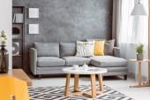 Fotografie runder Couchtisch auf gemustertem Teppich im geschmackvollen Wohnzimmer mit grauem Sofa mit Kissen, Kopierraum an leerer Betonwand