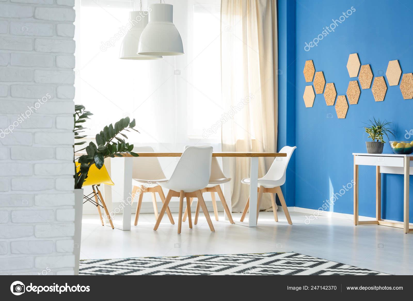 Super Bright Blue White Dining Room Table Chairs Voguish Apartment Creativecarmelina Interior Chair Design Creativecarmelinacom